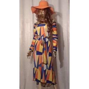 Orange and blue pattern maxi dress
